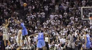Tony Parker's buzzer-beater shot against the Oklahoma City Thunder